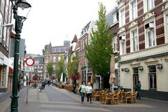 Street view parade. Netherlands,Holland,Limburg,Venlo,june 2016:street view and terrace on  parade Stock Photos