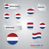Netherlands icon set of flags Royalty Free Stock Photo