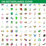 100 netherlands icons set, cartoon style. 100 netherlands icons set in cartoon style for any design illustration vector illustration