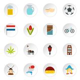 Netherlands icons set, flat style. Netherlands icons set. Flat illustration of 16 Netherlands icons for web Stock Illustration