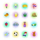 Netherlands icons set, pop-art style Royalty Free Stock Photos