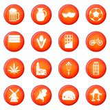Netherlands icons vector set Stock Image
