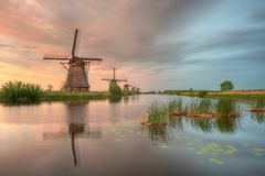 Netherlands Kinderdijk Windmills royalty free stock photo