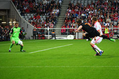 Netherlands Klaas Jan Huntelaar shootss a goal a Royalty Free Stock Image