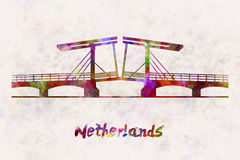 Netherlands Landmark Bridge in watercolor Royalty Free Stock Image