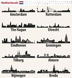 Netherlands largest cities skylines silhouettes Royalty Free Stock Image