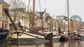 NETHERLANDS, LEEUWARDEN - APRIL 09, 2015: View from a boat on th Royalty Free Stock Image