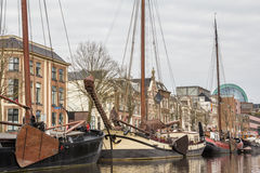 NETHERLANDS, LEEUWARDEN - APRIL 09, 2015: View form a boat Royalty Free Stock Photo