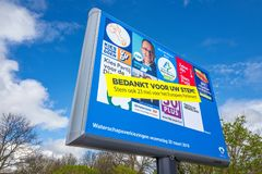 Electoral board with a banner on which the voter is thanked for voting and also called. NETHERLANDS - LEIDSCHENDAM - APRIL 3, 2019: Electoral board with a banner royalty free stock image