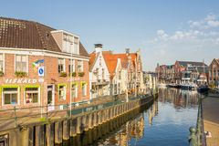 Pleasure yachts and sail boats in Lemmer in Friesland, Netherlands. Royalty Free Stock Photography