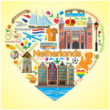 Netherlands love. Set colored flat vector icons and symbols in form of heart Royalty Free Stock Images