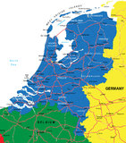 Netherlands map. Highly detailed vector map of Netherlands with administrative regions,main cities and roads Stock Photography