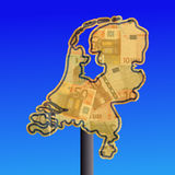 Netherlands map with cash Royalty Free Stock Image