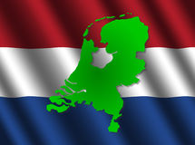 Netherlands map on flag Royalty Free Stock Photography