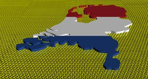 Netherlands map flag on golden euros coins illustration. Netherlands map flag on golden euros coins abstract 3d illustration Stock Images