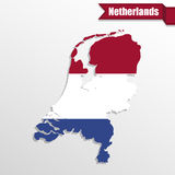Netherlands map with flag inside and ribbon Royalty Free Stock Photography