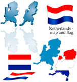 Netherlands - map and flag set Stock Photography