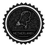 Netherlands Map Label with Retro Vintage Styled. Netherlands Map Label with Retro Vintage Styled Design. Hipster Grungy Netherlands Map Insignia Vector Stock Image