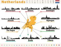 Netherlands map with largest cities skylines silhouettes. Netherlands map with largest cities skylines Stock Images
