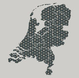 Netherlands map with stars and ornaments including borders. Illustration Royalty Free Stock Photo