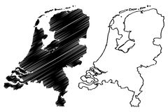 Netherlands map vector Royalty Free Stock Photography