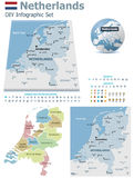 Netherlands maps with markers Royalty Free Stock Image