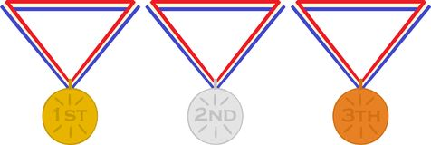 Netherlands medals first second and third place gold silver bronze. Medals first second and third place gold silver bronze. Olympic games. Netherlands Stock Image
