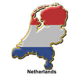 Netherlands metal pin badge. Map shaped flag of Holland in the style of a metal pin badge Royalty Free Stock Image