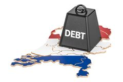 Netherlands national debt or budget deficit, financial crisis co. Ncept Royalty Free Stock Photo
