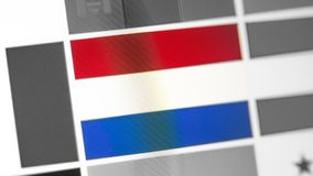 Netherlands national flag of country. Netherlands flag on the display, a digital moire effect. stock image