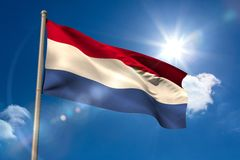 Netherlands national flag on flagpole Stock Photo
