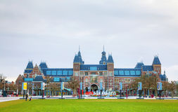 Netherlands national museum with I Amsterdam slogan royalty free stock photo