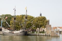 Historical ship in The harbor of the city of Enkhuizen stock photography