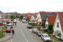 The main street of Oudeschild. Netherlands,North Holland,Wadden Sea,Texel,june 2016: The main street of Oudeschild contains shops and restaurants stock photo
