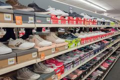 Sport shoes in the Bristol store in Nunspeet. NETHERLANDS - NUNSPEET - FEBRUARI 03, 2018: Sport shoes in the Bristol store in Nunspeet in The Netherlands Stock Photo
