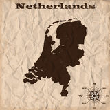 Netherlands old map with grunge and crumpled paper. Vector illustration Royalty Free Stock Photography