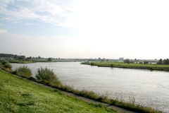 Traffic and view on the river IJssel royalty free stock image