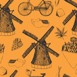 Netherlands pattern. Hand drawing sketch Stock Image