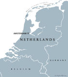 Netherlands political map gray colored Royalty Free Stock Photo