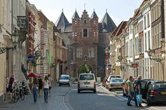 Street view Bergen op Zoom with old Prison Gate Royalty Free Stock Image