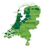 Netherlands relief map. Highly detailed physical map of Netherlands,in vector format,with all the relief forms,regions and big cities Stock Photo