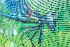 Graffiti artwork of a dragonfly on a wall. Created by artists of Graffitinetwerk in The royalty free stock photo