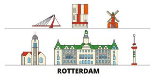 Free Netherlands, Rotterdam Flat Landmarks Vector Illustration. Netherlands, Rotterdam Line City With Famous Travel Sights Royalty Free Stock Photography - 141656207