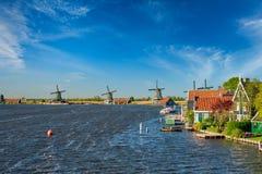 Windmills at Zaanse Schans in Holland. Zaandam, Netherlands Stock Photos