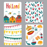 Netherlands set of cards Royalty Free Stock Photography