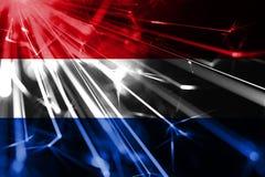 Netherlands shining fireworks sparkling flag. New Year 2019 and Christmas futuristic shiny party concept flag. Netherlands shining fireworks sparkling flag. New royalty free illustration