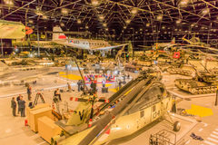 The Netherlands - Soest. Overview of the exhibition of a Dutch army materials during the recording of a Dutch TV programm,at the National Military Museum in Royalty Free Stock Images