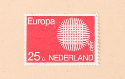 THE NETHERLANDS 1980: A stamp printed in the Netherlands shows holland as part of Europe, circa 1980. A stamp printed in the Netherlands shows holland as part of stock photos