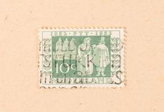 THE NETHERLANDS 1950: A stamp printed in the Netherlands shows the dutch postal service, circa 1950. A stamp printed in the Netherlands shows the dutch postal stock image