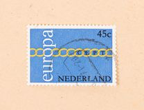 THE NETHERLANDS 1980: A stamp printed in the Netherlands shows holland as part of Europe, circa 1980. A stamp printed in the Netherlands shows holland as part of royalty free stock images